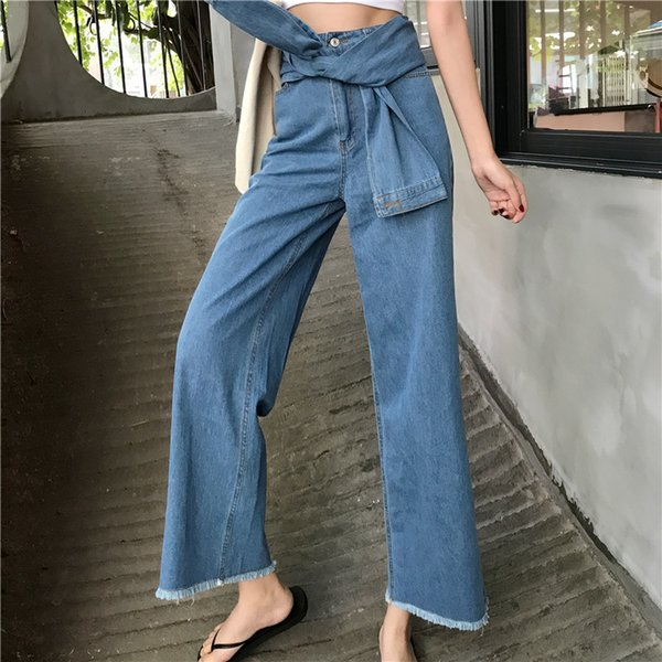 GRUIICEEN vintage sashes high street wide leg pants women Jeans loose denim pants 2018 autumn winter trousers GY2018209