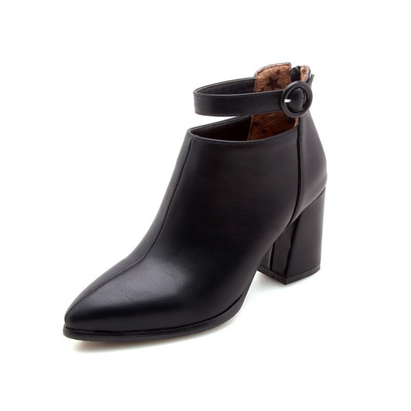 Winter boots female small boots pointed belt buckle back zipper low tube womens boots large size. XZ-005