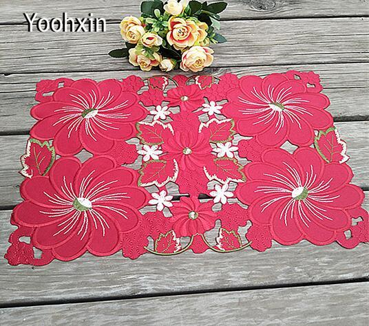 New Red satin table place mat cloth lace embroidery pad cup mug holder drink coaster trivet glass placemat coffee doily kitchen