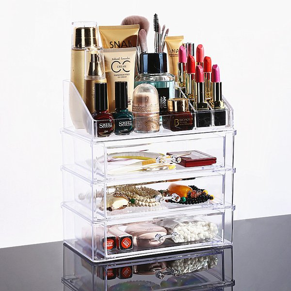 New Clear Acrylic Makeup Organizer Desktop Cosmetic Storage Box Lipstick Nail Polish Holder Women Makeup Tools Container