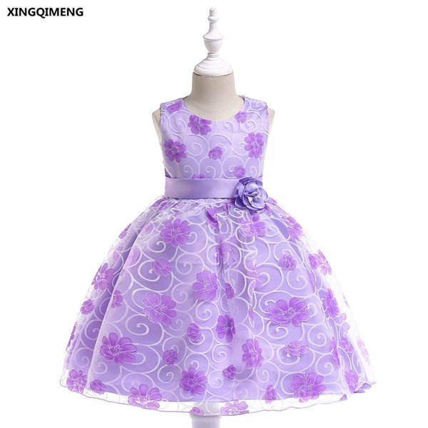 In magazzino Violet Short Flower Girl Dresses with Bow Sash 3-10Y Abiti da cerimonia per Little Girls Cheap Pageant Tulle Ball Gown