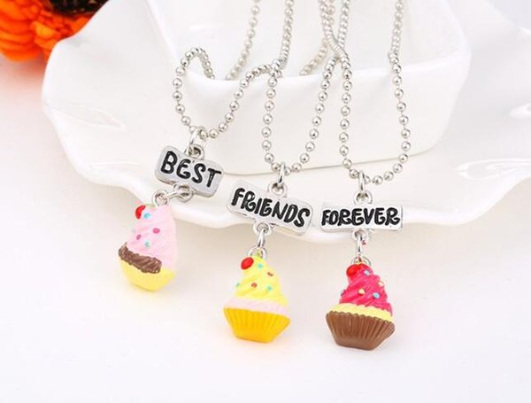 HOT SALE kids jewelry Best Friends Forever BFF pendant charm beaded chain cute strawberry ice-cream necklace for kids gift 3set/9pcs