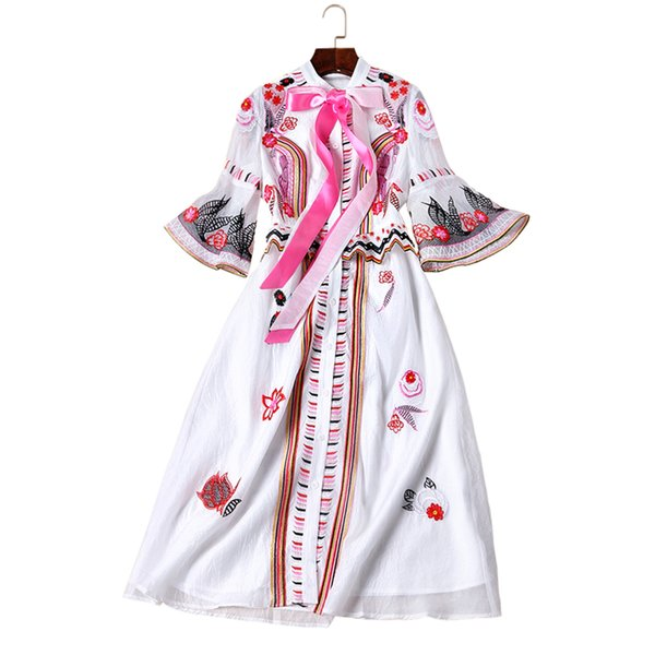 2018 Designer New Spring Summer European High-end pista da passerella stile folcloristico ricamo vita sottile vestito moda femminile