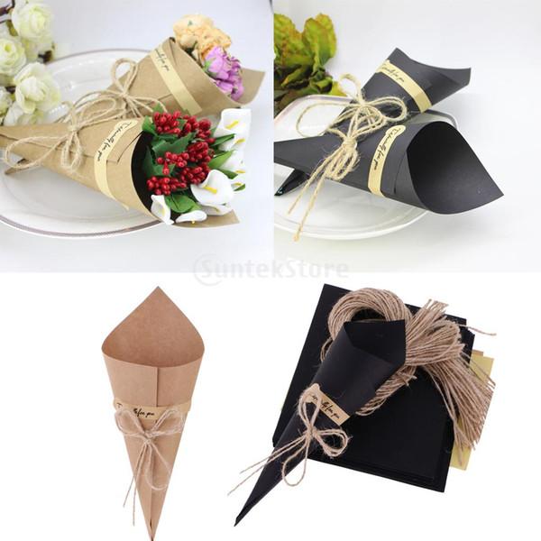 50 Pièces Kraft Papier Cônes Bouquet Bonbons Cadeaux De Fête De Mariage Brun / Noir