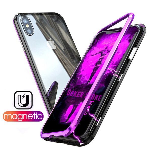 2018 XS Max XR Magnet Adsorption Dual Color Metal Bumper Tempered Glass Back Cover Phone Case for iphone XS Max XR 8 6 7 plus X