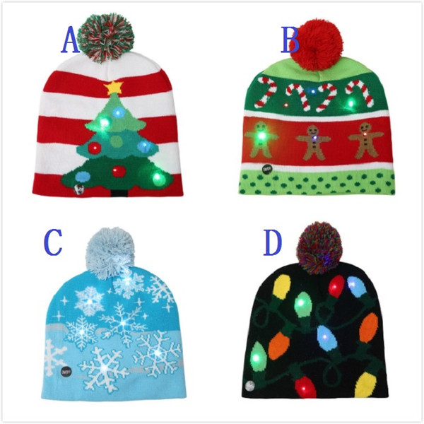 20*21CM Chrimas hat with LED light winter ball cap knitted beanie caps adult baby hat fashion knitting snow christmas tree hats