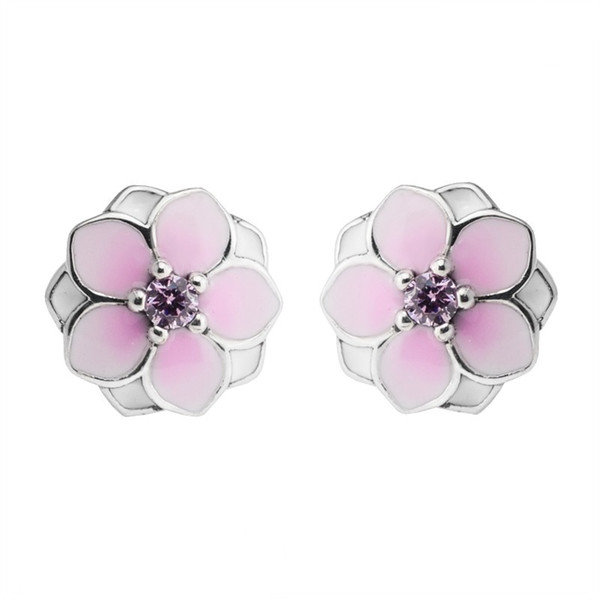 2018 Sommer New Magnolia Bloom Floral Ohrstecker Original Authentic 925-Sterling-Silver Pale Cerise Emaille Pink Crystal Flowers Ohrring