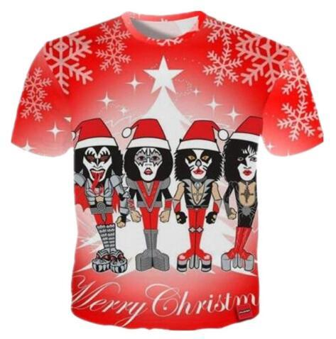 New Fashion Christmas 3D Print Metal Music Graphic T Shirts Summer Quick Dry Clothing Short Sleeve Hip Hop Tops Tees Plus Size
