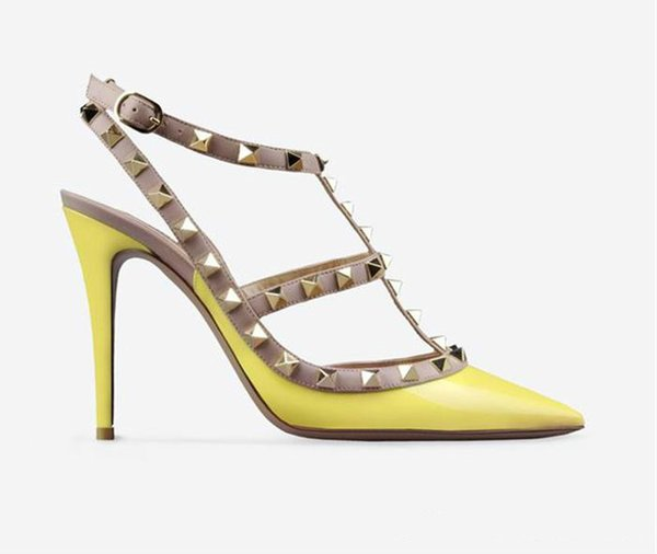 Designer Pointed Toe 2-Strap with Studs high heels Patent Leather rivets Sandals Women Studded Strappy Dress Shoes valentine high heel Shoes