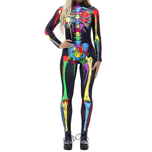 Trajes de Halloween para Mulheres Horror Traje Zumbi Feminino Esqueleto Sexy Traje de Halloween Roupas Macacão Festival S-XL