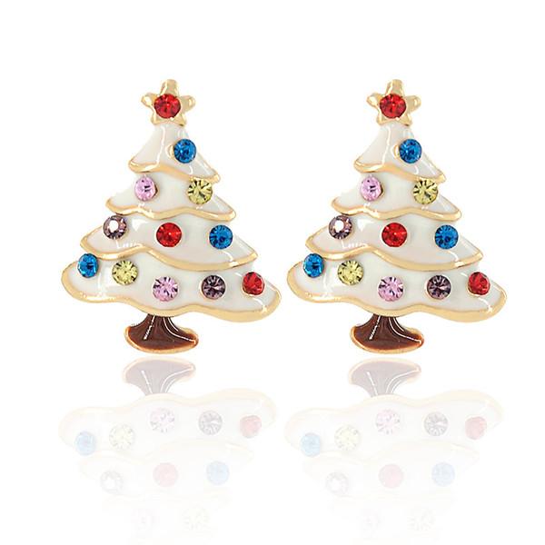 Trendy Christmas Charm Stud Earring Jewelry Multicolor Christmas Tree Metal Women Earrings Jewelry For Women Friend Gift