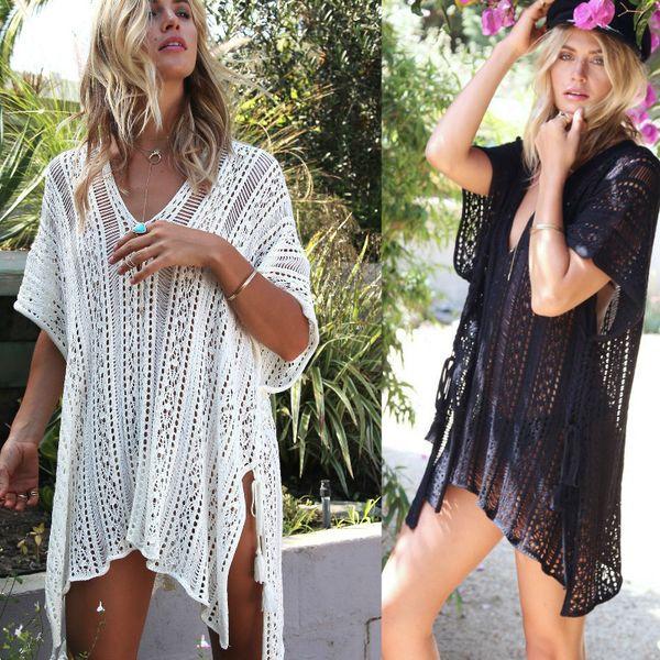 Women White Summer Sexy Lace Hollow Knit Bikini Swimwear Cover up Crochet Beach Mini Dress Tops Blouse Bathing Suit See-through Beach Dress