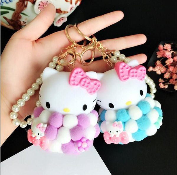 Lovable Hello Kitty plush Keychain Keyring Car for Women Charm Bag Key Chians Pendant Car interior accessories