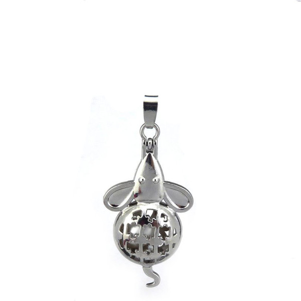10pcs/lot Silver Alloy Cute Mouse Rats Magnetic Oysters Beads Cage Locket Pendant Aromatherapy Perfume Essential Oils Diffuser