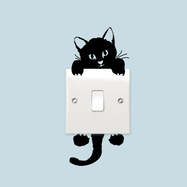 1/2/3/4/5pcs Love Cat Light Switch Phone Wall Stickers For Kids Rooms Diy Home Decoration Cartoon Animals Wall Decals Mural Art