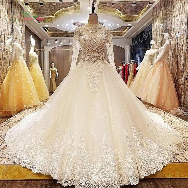 sexypromdress / Increíble abalorios vestidos de novia Ilusión Top Mangas largas Vestidos de novia Una línea de encaje Apliques Corte de tren Vestidos de boda por