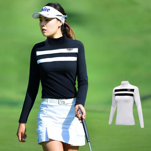 best selling 2019 Autumn Sportswear Womens Shirts Golf Clothes Long Sleeve Shirt Women Sport Apparel Sunscreen Stripe Bottoming