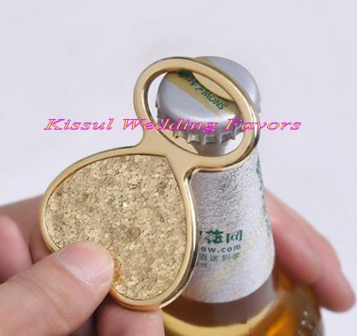 (10 Pieces/lot) Wedding decoration gift of Gold Glitter Heart Bottle Opener Wedding Favors for gold wedding theme