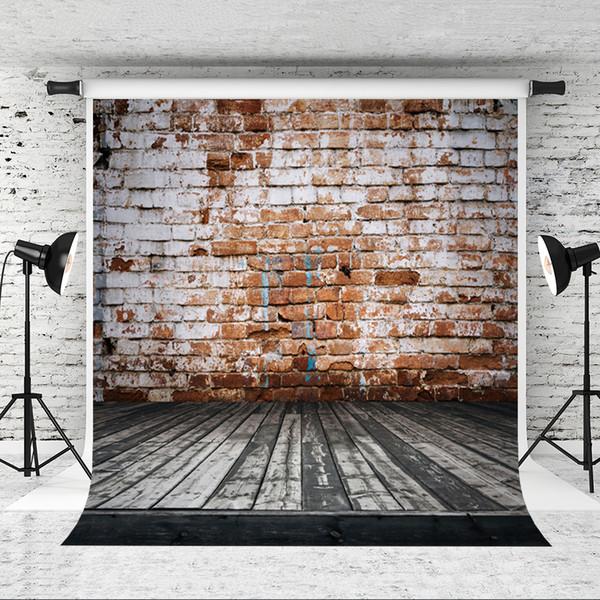 Dream 5x7ft Retro Brick Wall Backdrop light Brown Brick Photo Background for Photographer Portrait Shoot Dark Wood Floor Studio Backgrounds