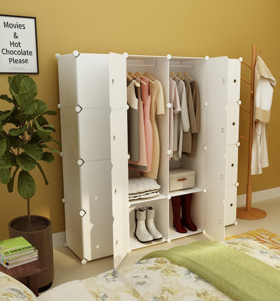 2019 Portable Clothes Closet Wardrobe Bedroom Armoire Dresser Cube Storage  Organizer, Capacious&Customizable, White, 10 Cubes+2 Hanging Sections From  ...