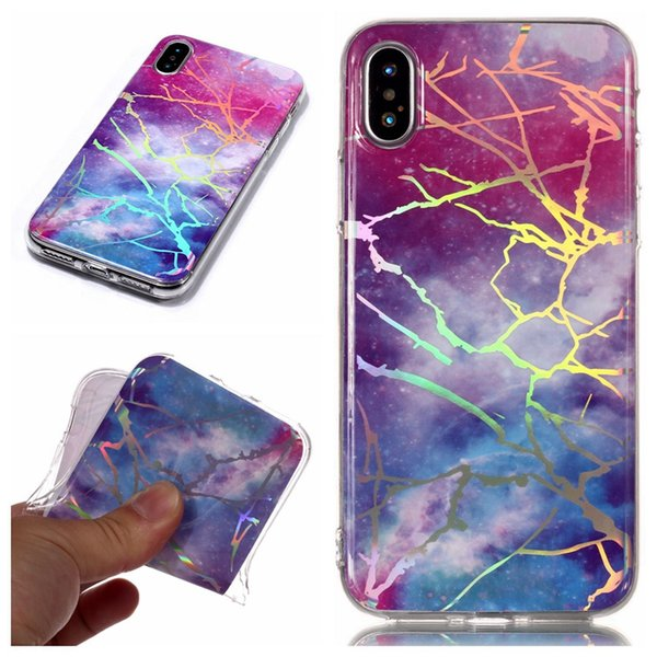 For Iphone X 10 8 7 6S SE 4 4S 5C Ipod Touch 6 5 Chromed Marble Soft TPU Case Natural Stone Metallic Bling Plating Rock Cover Coque Fashion