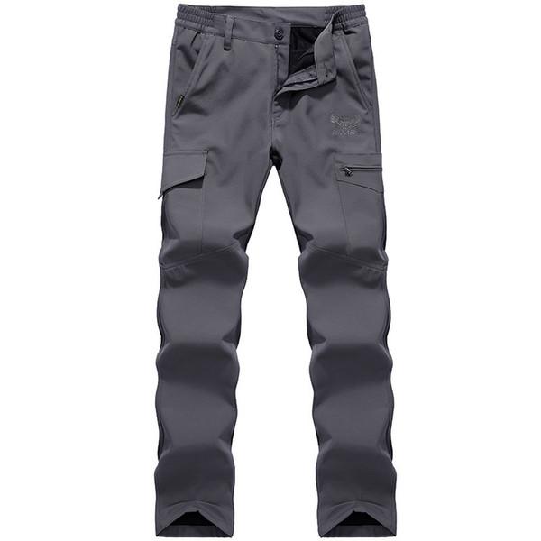 Calças de Carga dos homens de inverno Homens Do Exército Militar Tático Calças de Lã Quentes Masculino Pele De Tubarão À Prova D 'Água Calças
