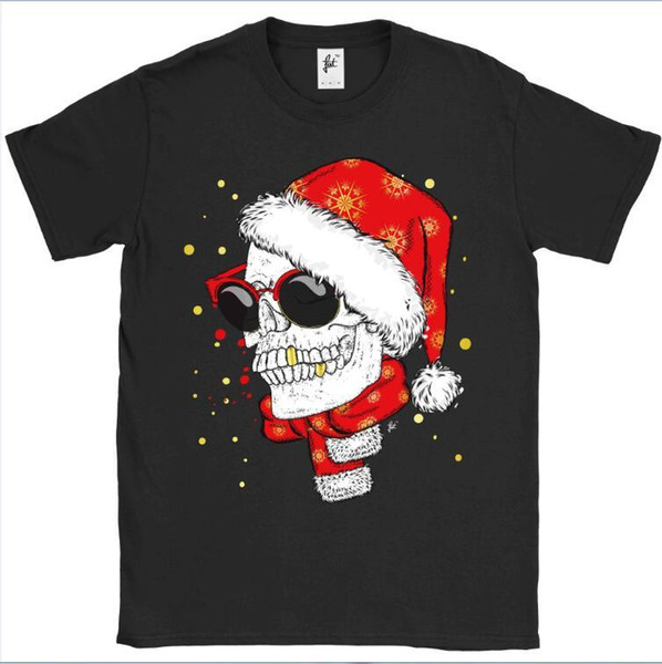 Skull Wearing Xmas Hat & Scarf Smiling Gold Teeth Mens T-Shirt Print Short Sleeve T Shirt Cheap Price 100 % Cotton Tee Shirts