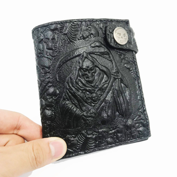 Retro personality, devil, skull, wallet, European style, fashion punk rock, short man suit wallet.