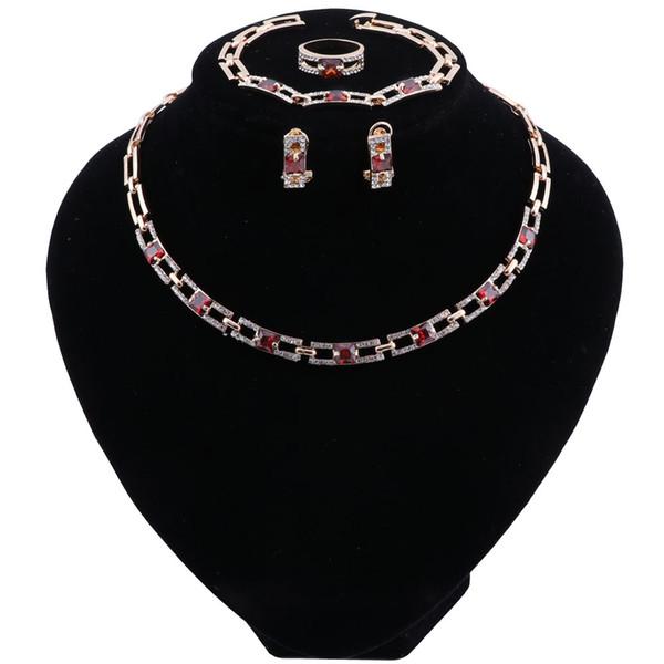 Retro Dubai Bridal Jewelry Sets Crystal Gold Color Jewellery Sets For Women Nigerian Wedding Jewelry Set