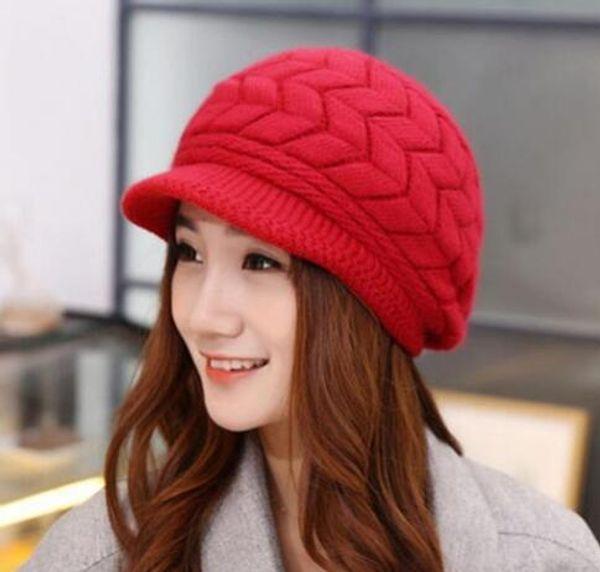 2018 Winter New Fashion Newsboy Caps Women Winter Warm Double-deck Hat Headwear Knitted Crochet Hats Sweet Ladies Outfits Caps