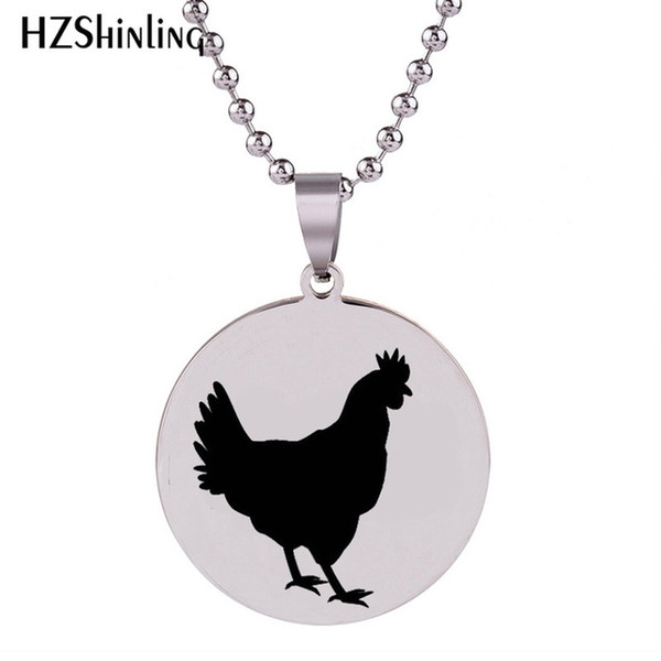 2018 New Chicken Stainless Steel Necklace Silver Art Pendant Handmade Necklace Round Jewelry Ball Chain Gifts For Men