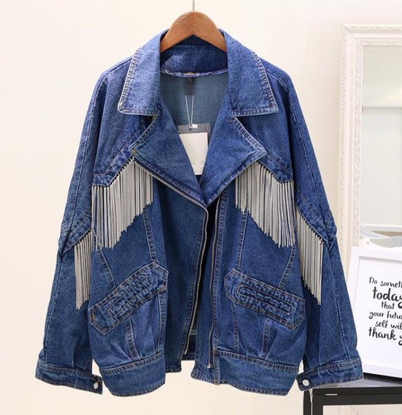 Großhandel 2019 Herbst Frauen Und Männer Neue Schwere Quaste Kette Cowboy Jacke Mädchen Student BF Wind Lose Riss Jeans Jacken Outwear Mäntel Von