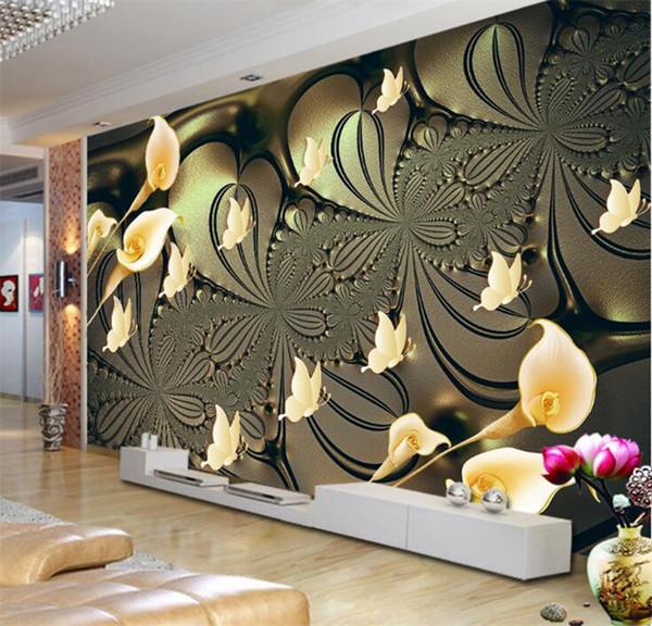 Personalizado mural papel de parede para paredes do quarto 3d em relevo lírio flor borboleta fundo papéis de parede home decor sala moderna