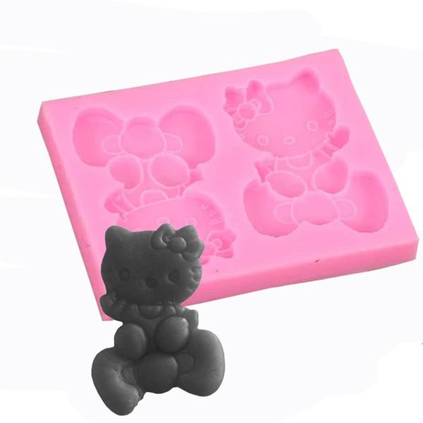 Kitty chat liquide goutte d'argile moule en silicone céramique doux DIY gâteau au chocolat décoration sucre torréfacteur