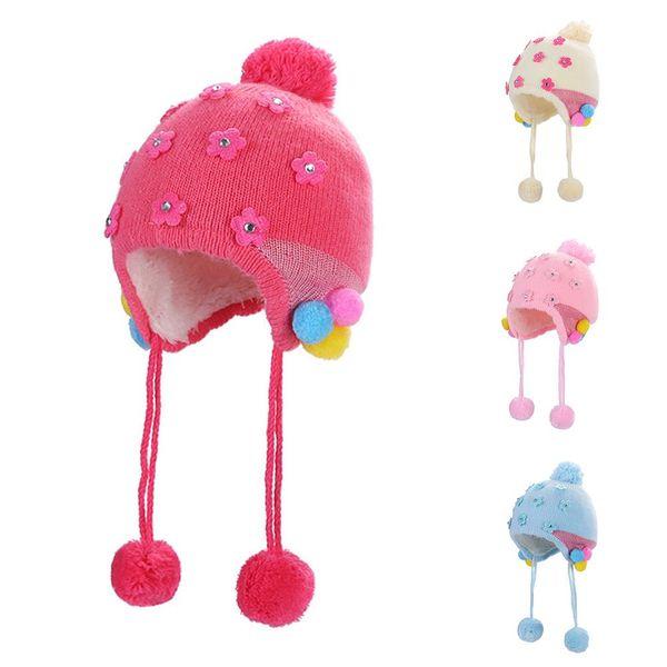 Compre Casual Otoño Invierno Rhinestone Flor Baby Girls Beanie Hat ...