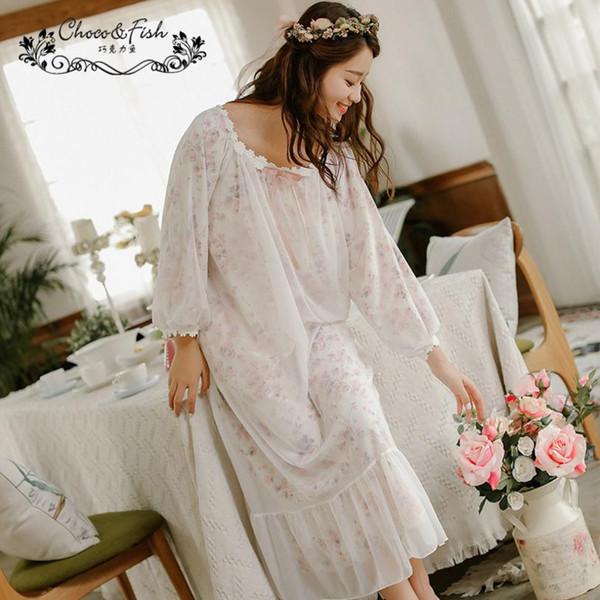 Koreanische Art gefälschte zwei Stücke Masche reines Baumwoll-Nachthemd schöne Göttin lange Spitze Kragen Volants Kleid Nacht Kleidung wj1253