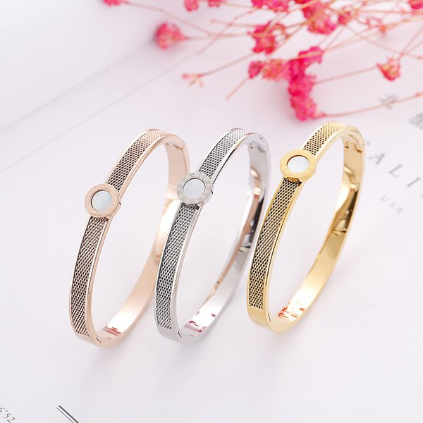 Fashion Women White Shell Roman Numerals Bracelet 3 Color 18K Gold Rose Gold 316L Stainless Steel Bangle For Daily Best Gift For Anniversary