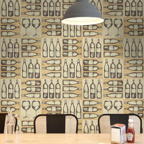 Nordic Style Retro Nostalgic Wine Bottle Glass Wall Paper Bar Restaurant KTV Background Wall Industrial Wind Wallpaper 3D