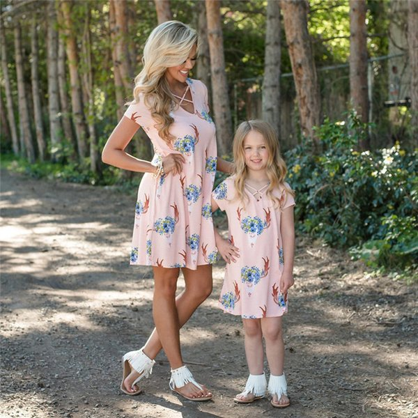 Emmababy 2018 Mommy and me family matching dress mother daughter dresses clothes deer floral mom and daughter dress kid outfit