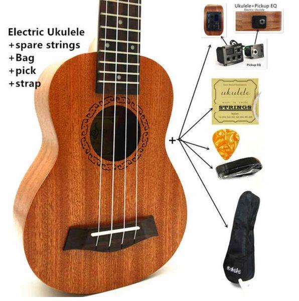 Ukulele Concert Soprano Tenore Ukelele Mini Chitarra acustica elettrica Ukelele Guitarra Strumenti a corda W- / Pick Up EQ