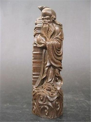 Collectibles Chinese Agarwood Wood Hand Carved statue Fu lu shou-longevity