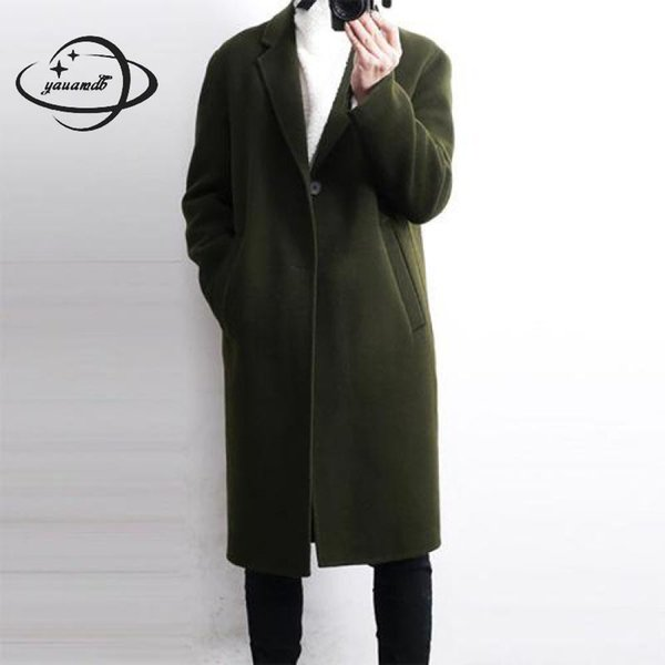 YAUAMDB mens wool coats spring autumn M-2XL male blends jackets clothing single button pockets man long solid outerwear ly147