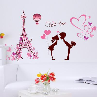 Wholesale 113*61cm PARIS LOVE Wall Stickers Wallpaper Christmas Paper Peint 3d Home Decor Bathroom Kitchen Accessories Household Suppllies