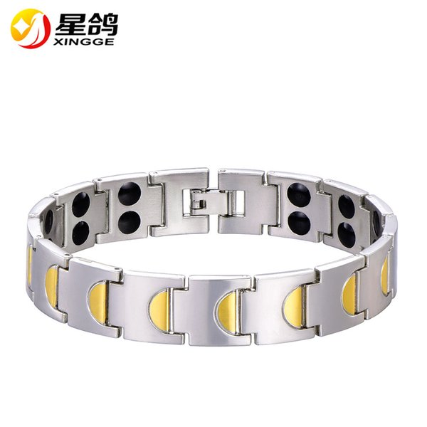 High quality two designs link chain Health Energy Bracelets For Men with magnetic negative ion jewelry wholesale