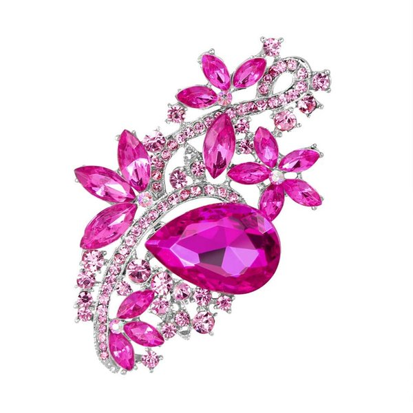 3 inch Long Large Flower Silver Plating Pink Red Rhinestone Pink Brooches for Wedding