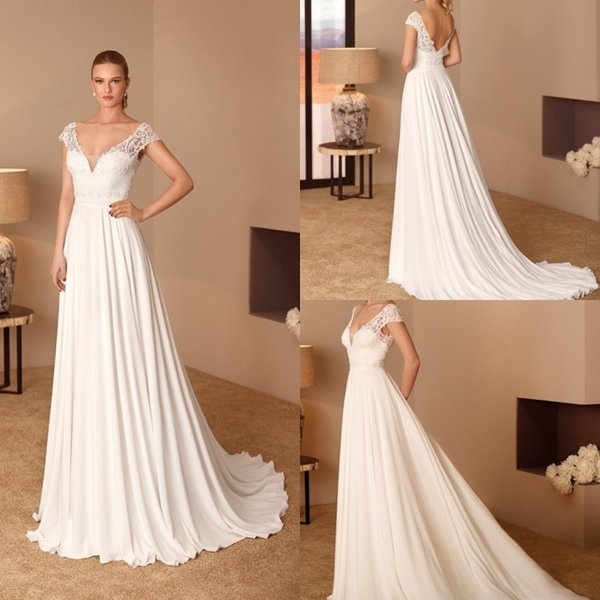 2019 Summer Chiffon Wedding Dresses Cap Sleeve Lace V Neck Appliques Beads Bridal Gowns with Pleats Backless Custom Made Wedding Dress Cheap