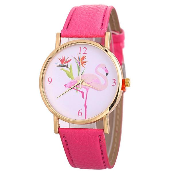 Cute Pink Flamingo Design Watch Casual Women Dress Wristwatch Leather Strap Quartz Watch Stainless Steel Metal Watches