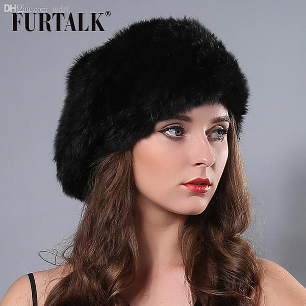 Atacado-2015 Novas Mulheres Russas inverno Knit Fur Boina Natural Knitted Rex Rabbit Fur Hats