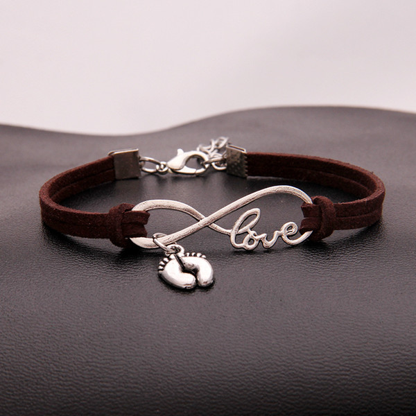 Fashion Infinity Love Foot Feet Pendant Charm Bangles Dark Brown Leather Suede Bracelets Women Men Vintage Male Braided Accessories Jewelry