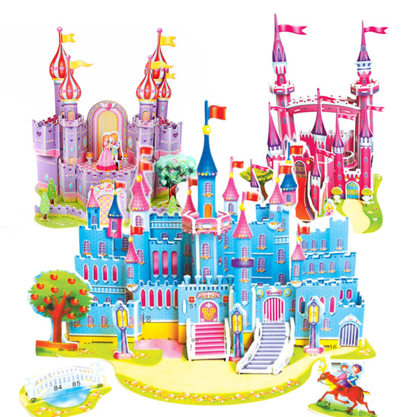 Zilipoo 3D DIY Puzzle Jigsaw Baby Toy Kid Early learning Castle Construction Pattern Gift For Children Brinquedo 29 Patterns